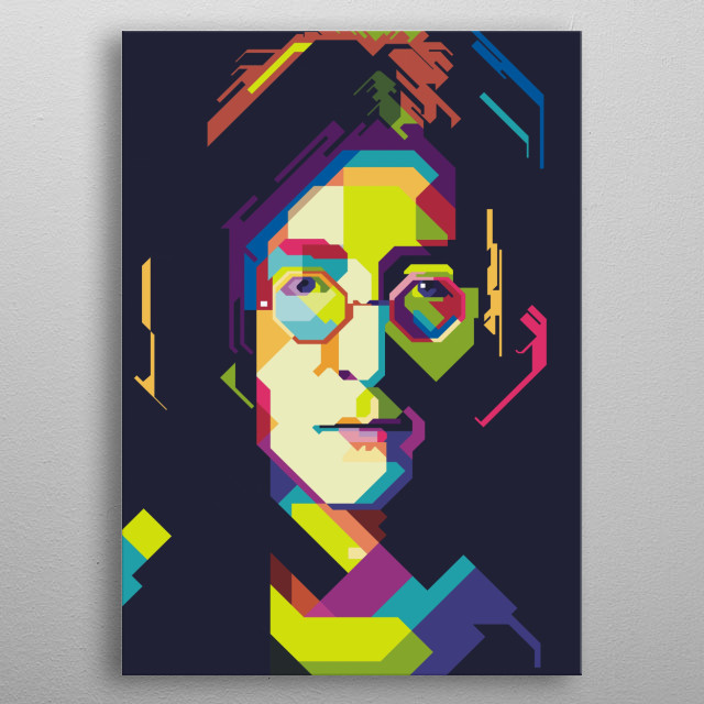 A unique and cool poster of John Lennon in the art of Wap with a 45 degree / style 45 wpap slope technique metal poster