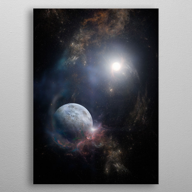 A space scape we could see during a trip through our universe metal poster