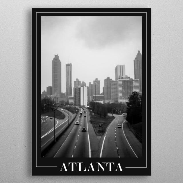 Shot of the Atlanta skyline from the Jackson Street Bridge on a rainy day. metal poster