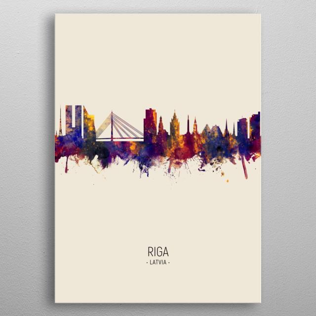 Watercolor art print of the skyline of Riga, Latvia  metal poster