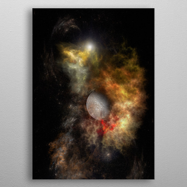 A nebula in the deep space metal poster
