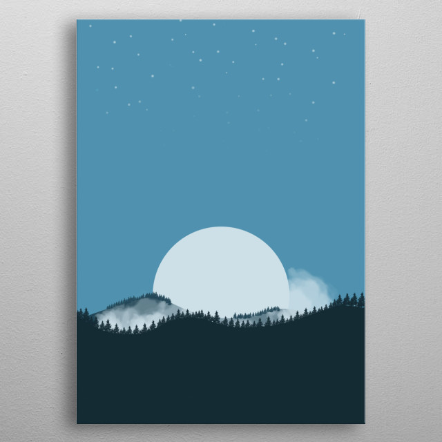 A flat landscape inspired by the game Firewatch and the artist Ollie Moss. metal poster