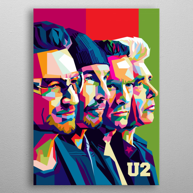 U2 is a popular Irish music group, a remarkable illustration of modern pop art. metal poster