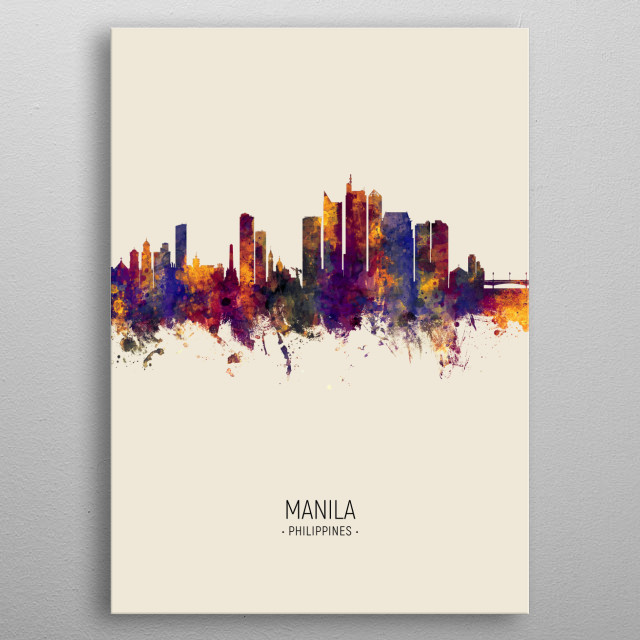 Watercolor art print of the skyline of Manila, Philippines  metal poster