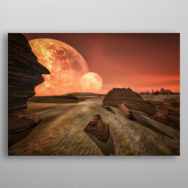A landscape we could see on a planet somewhere in the universe. A trip through our universe metal poster