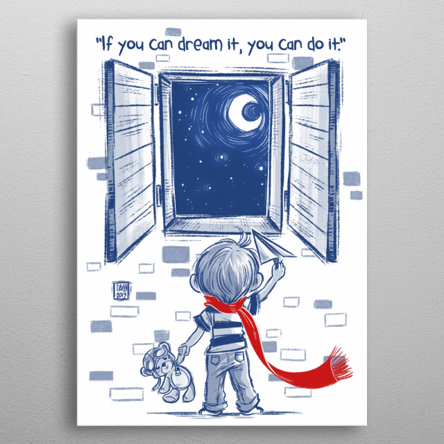 Child illustration metal poster