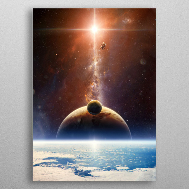 Sunrise in space in a solar system far away.  metal poster