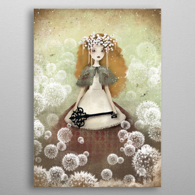 Illustration of a Mori girl holding a giant key in a field of dandelions.  metal poster