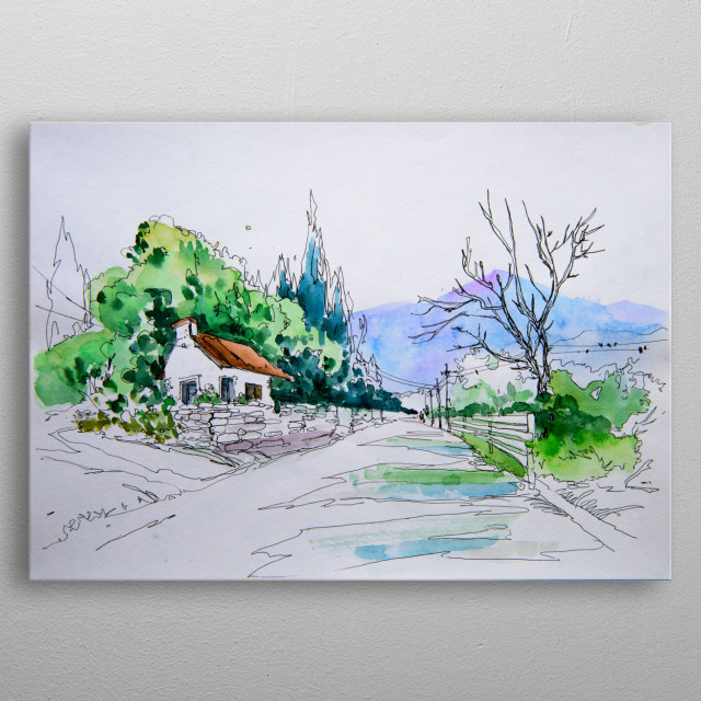 Original minimalism watercolor illustration of rural landscape with road, house, trees, birds, mountains metal poster