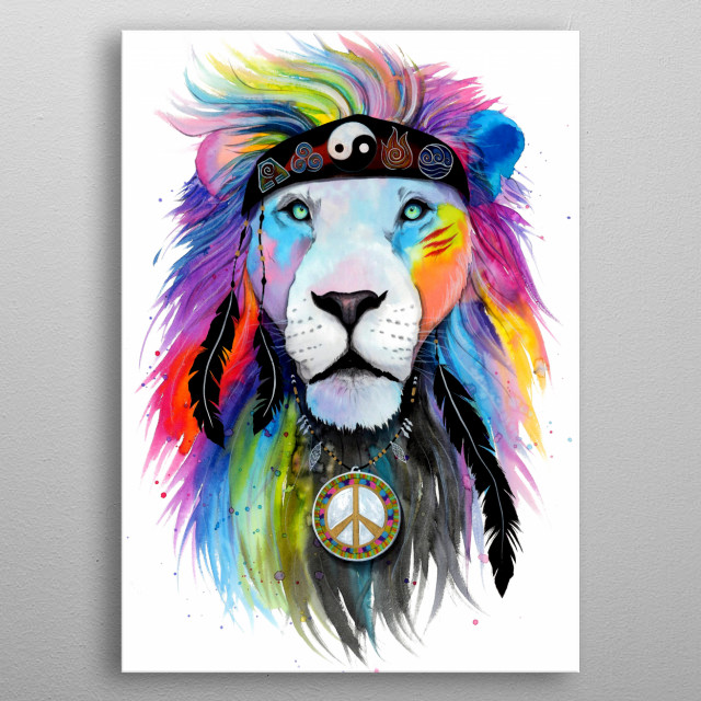 Get some hippy vibes with this colorful lion painting. metal poster