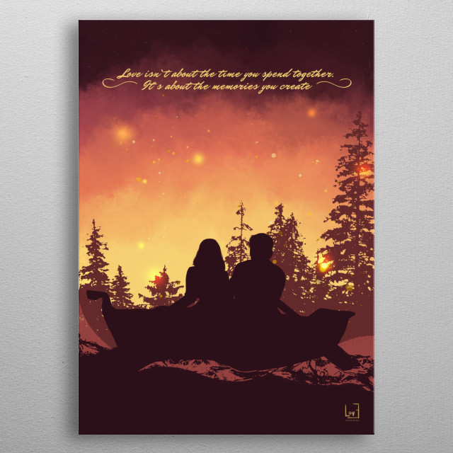 "Romantic couple against the sunset from my love posters collection) ""Love isn`t about the time you spend together.  It`s about..."" metal poster"