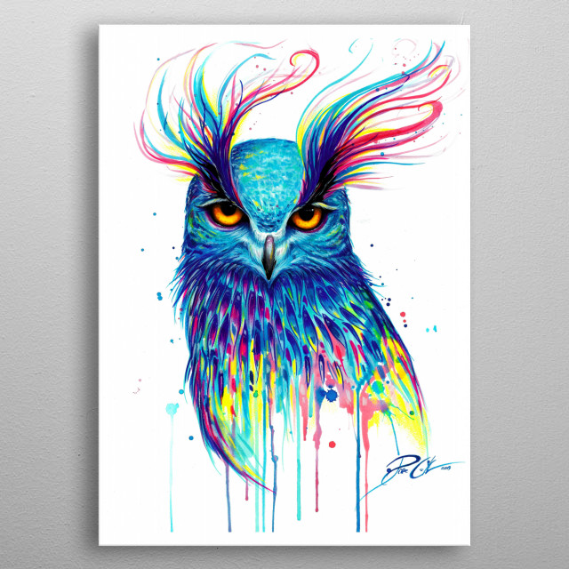 The abstract colorful portrait of an owl. metal poster