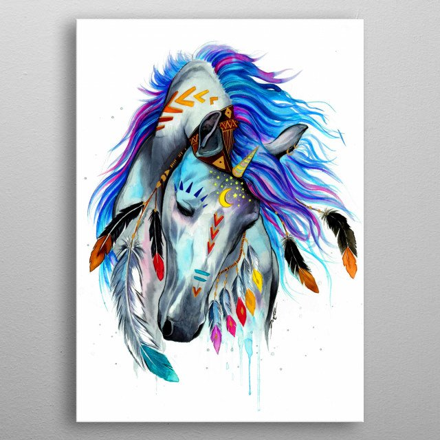 Magic, spirits and unicorns. This was the inspiration for me to paint this artwork. metal poster