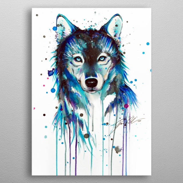Watercolor portrait of a blue ice wolf. metal poster