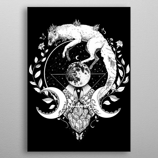 Spiritual painting of a wolf and the moon metal poster