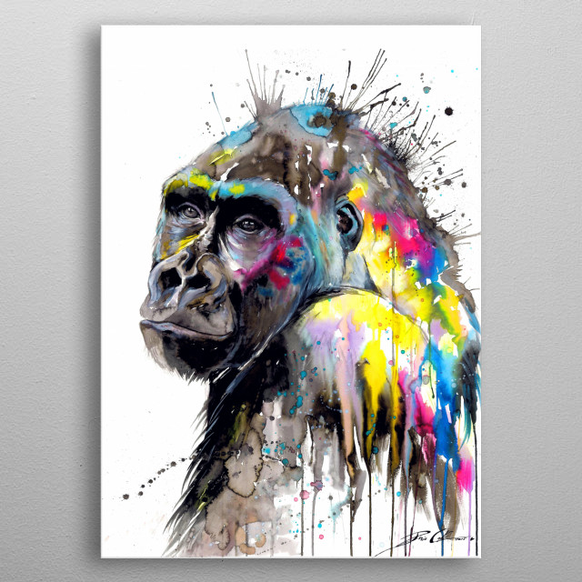 Colorful portrait of a gorilla. metal poster
