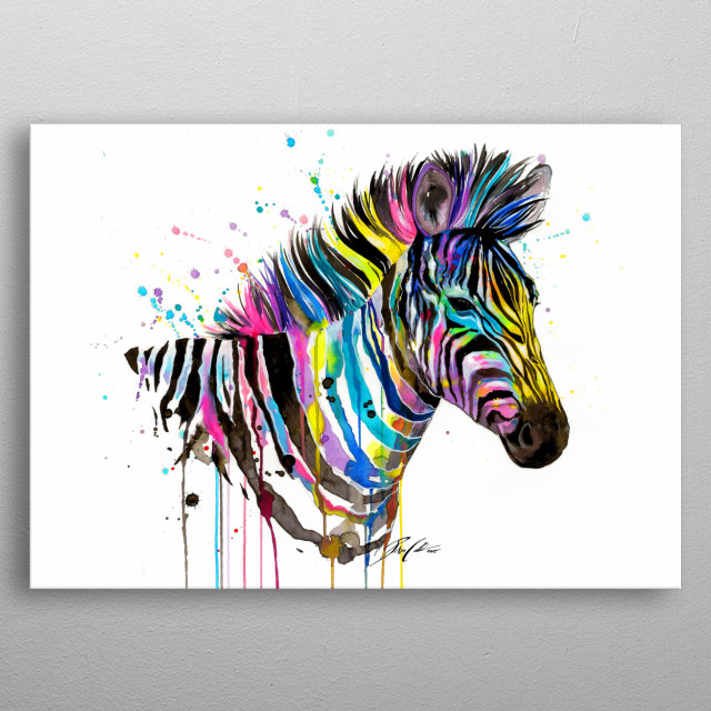 Colorful portrait of a zebra. metal poster