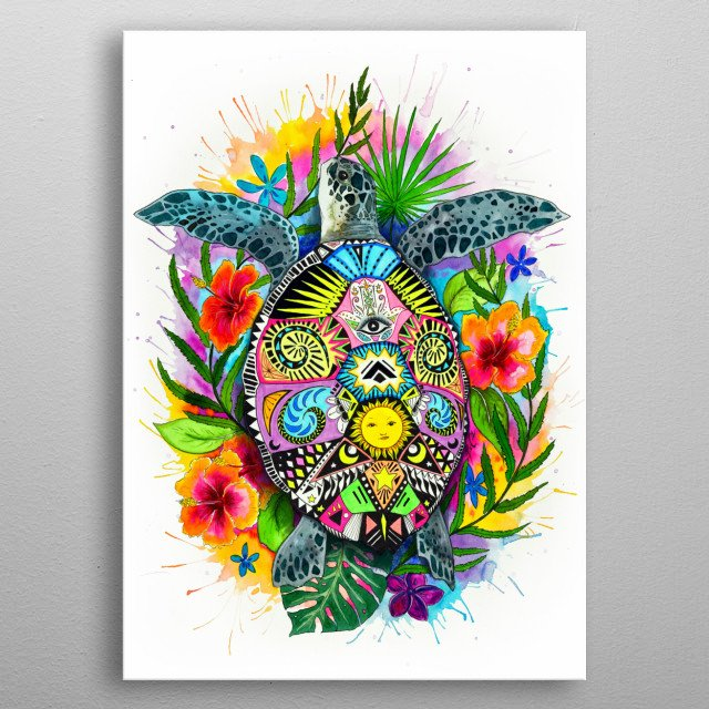 Good vibes only with this colorful turtle painting. metal poster