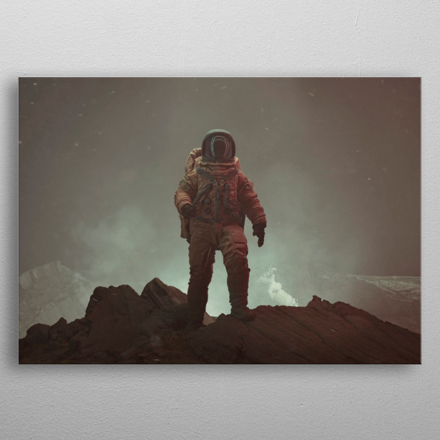 The 3d rendering of an astronaut. metal poster