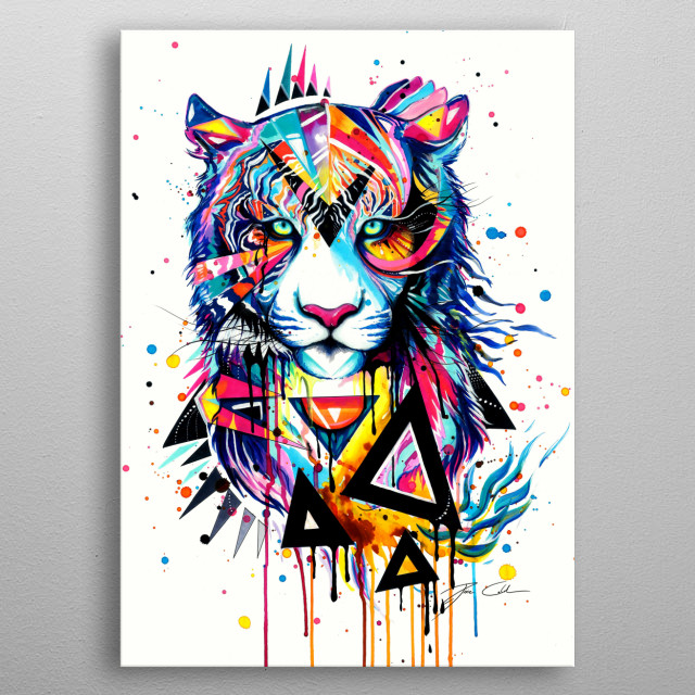 The abstract portrait of a tiger.  metal poster