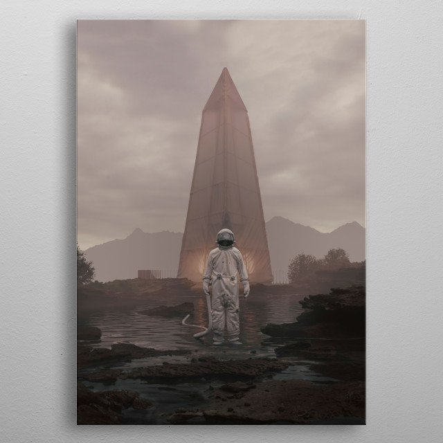 Uncanny scene with an astronaut in front of a shelter. metal poster