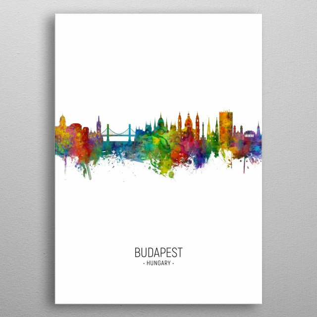 Watercolor art print of the skyline of Budapest, Hungary  metal poster
