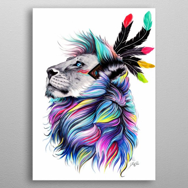 The spiritual painting of a lion inspired by the nature and native americans. metal poster