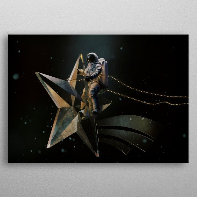 An astronaut riding the archetypical Christmas star. metal poster