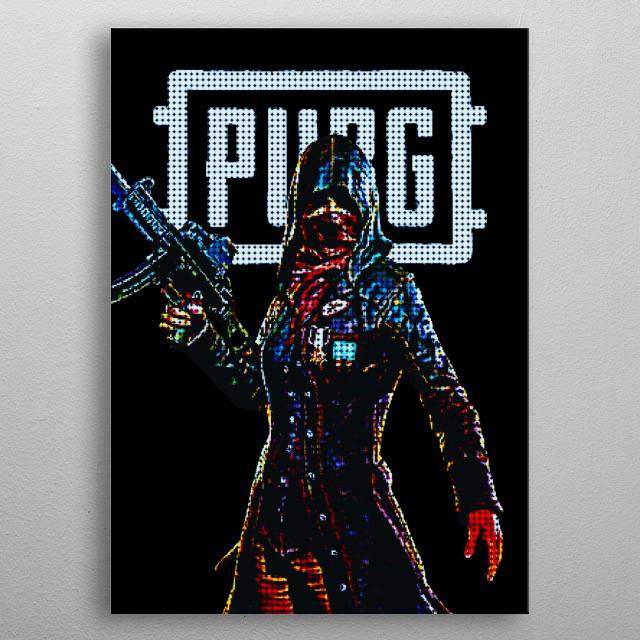 Pixels PUBG metal poster