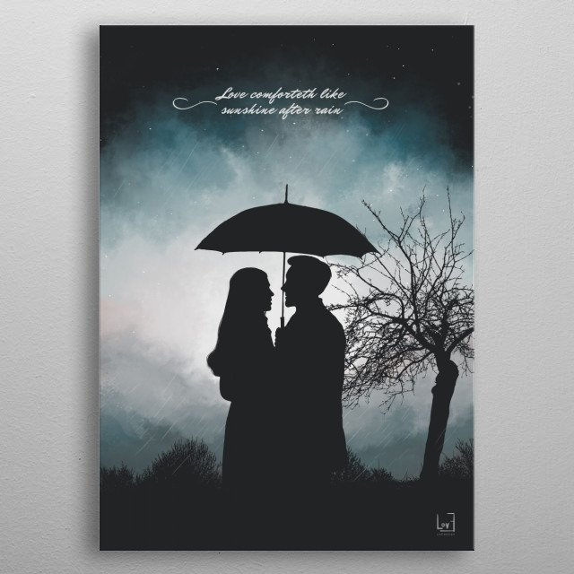 "Romantic couple under the rain from my love posters collection) William Shakespeare — ""Love comforteth like  sunshine after rain."" metal poster"