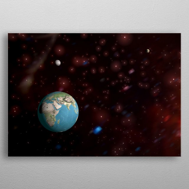 A landscape we could dee on a planet somewhere in the universe. A trip through our universe metal poster