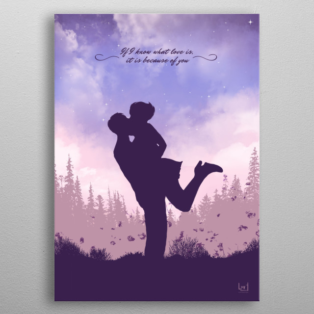 """Romantic couple against the sky from my love posters collection) """"If I know what love is, it is because of you."""" metal poster"""