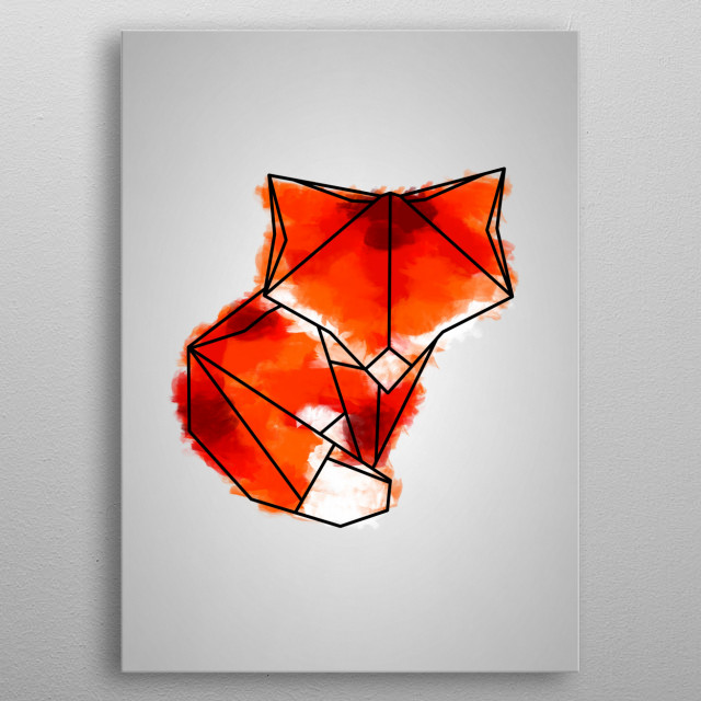 Origami Animal Art with a splash of colour metal poster