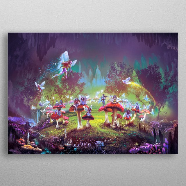 Fantasy landscape. Scene from the dimlight forest with the sorcerer's ring. metal poster