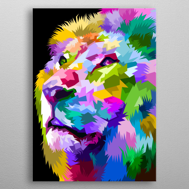close up of face colorful lion on pop art for animals lover  metal poster