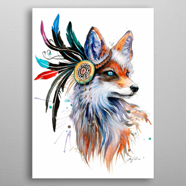 Inspired fox spirit by the mother of nature. metal poster