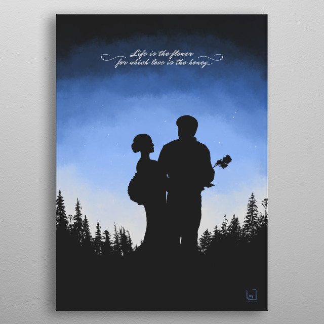 """Romantic couple against the forest from my love posters collection) Quote by Victor Hugo: """"Life is the flower for which love is the honey."""" metal poster"""