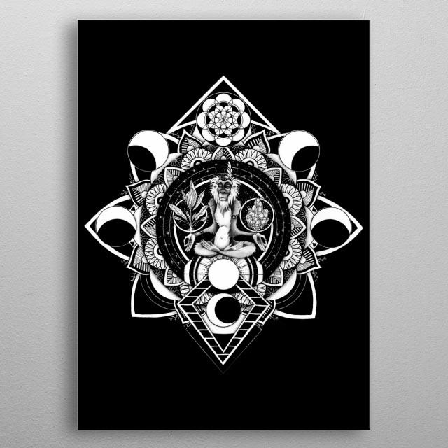 Drawing of the epic rafiki as a shaman. metal poster