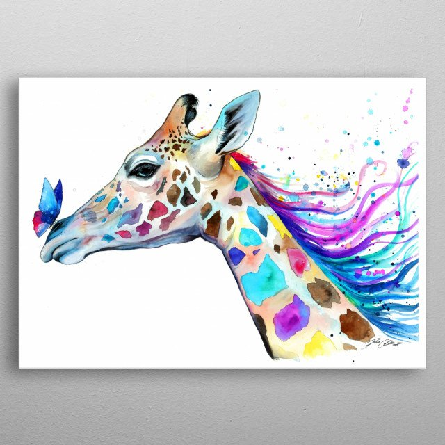 Colorful portrait of a giraffe. metal poster