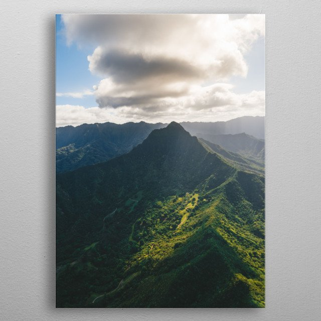 This unique, once in a lifetime shot was taken on a doors-off helicopter tour around the island of Oahu.  metal poster