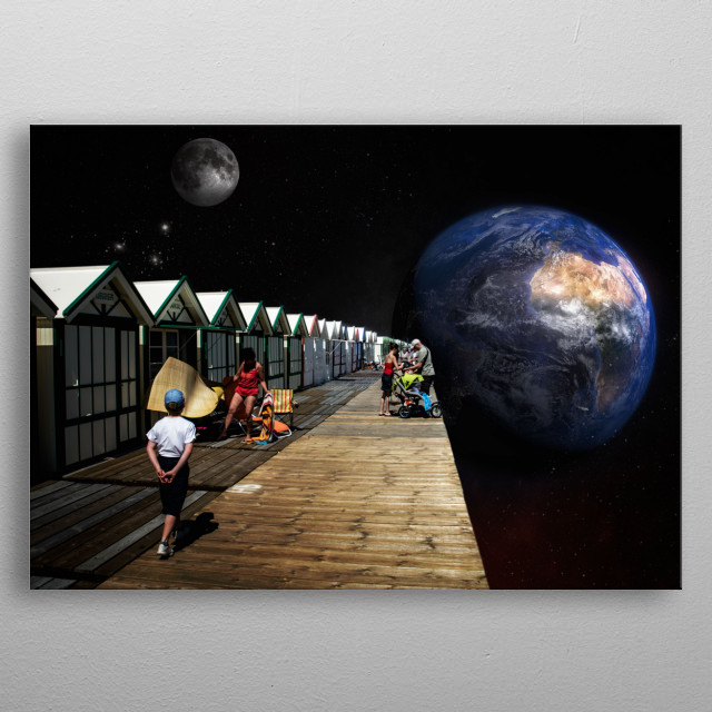 Walking at the edge of the universe metal poster