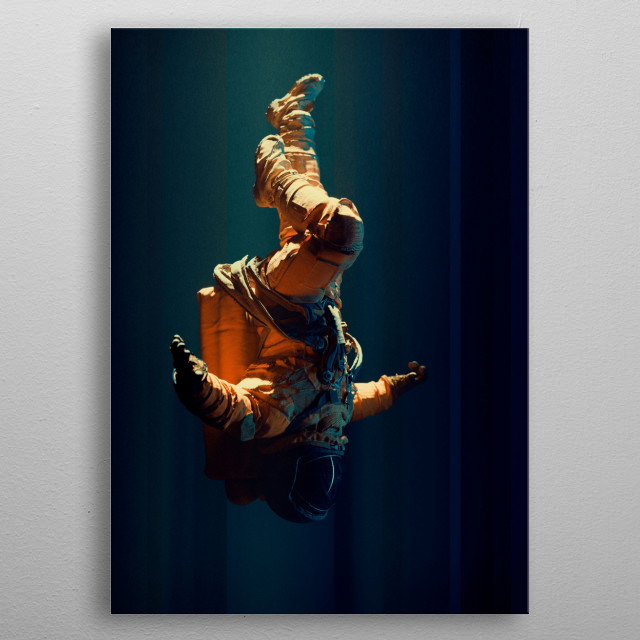 The illustration of an astronaut flaoting in space. metal poster