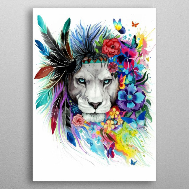 Colorful lion painting that will remind you of the beauty of the nature.  metal poster