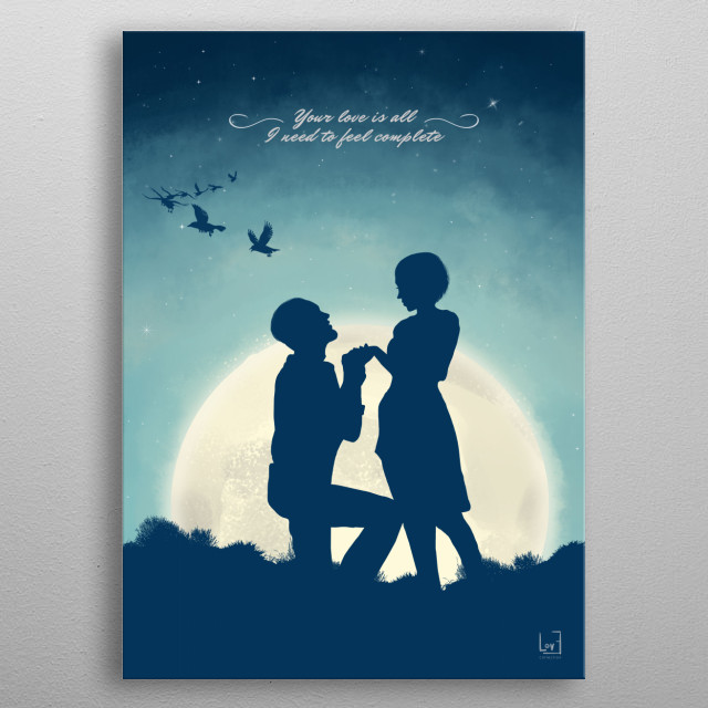 """Romantic couple against the full moon from my love posters collection)  """"Your love is all I need to feel complete."""" metal poster"""