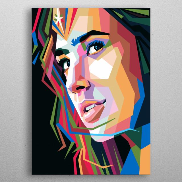 Gal Gadot is an actress and also an Israeli model. illustration of modern pop art portraits. metal poster