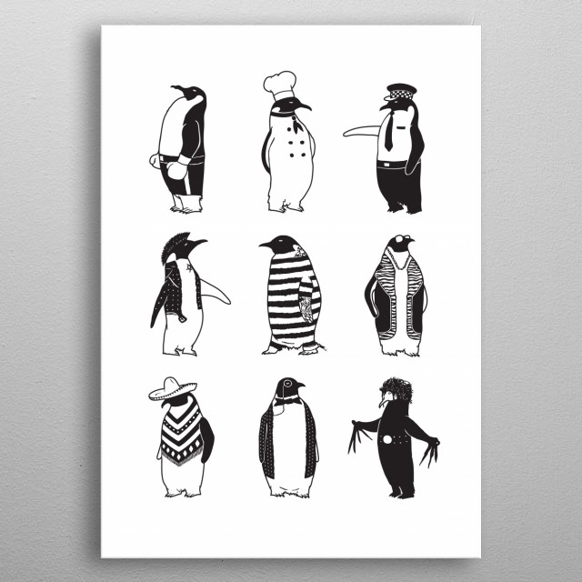 The different types of penguins in the antarctic society. metal poster