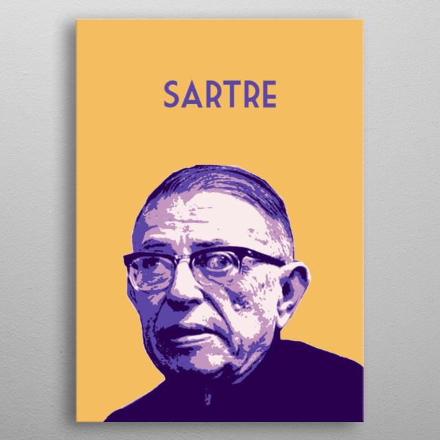 Jean-Paul Sartre metal poster