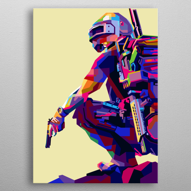 Game of the battle royale genre, Unknown's Battleground Player (PUBG) in modern pop art style metal poster