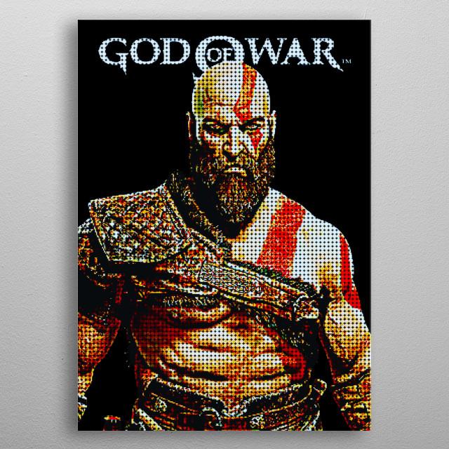 Pixels Kratos metal poster