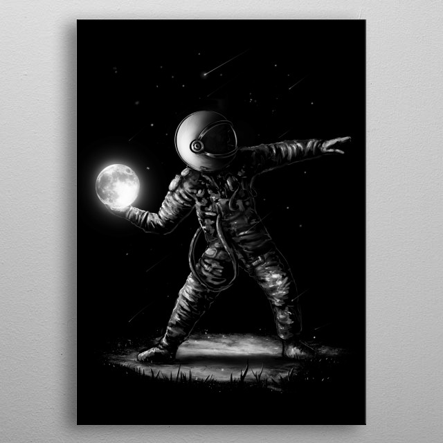 Let's have a space revolution. Inspired by banksy's molotov throwing.  metal poster